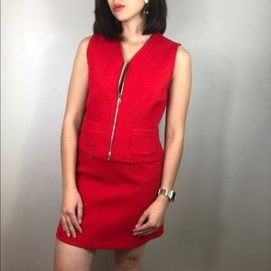 Vintage Italian red two piece skirt and vest set